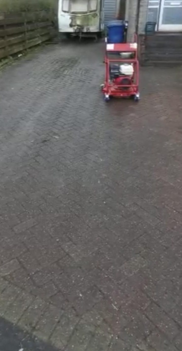 Mono Block driveway before cleaning